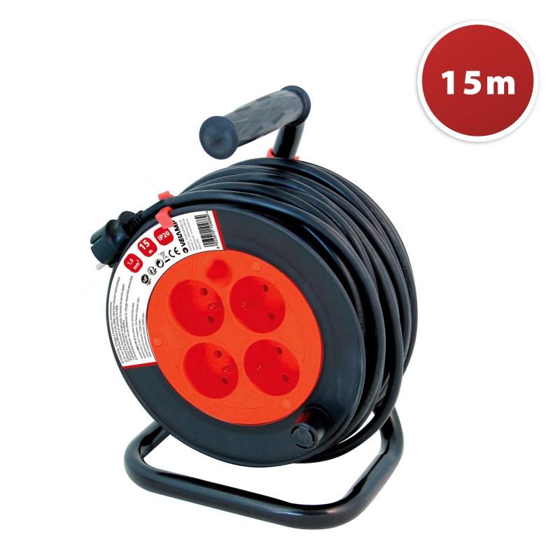 Enrouleur bricolage, 4 prises,H05VV-F3G1.5mm2, 15M, NF, CE REEL-FR-15 Velamp France, Belgium, Poland cable reels