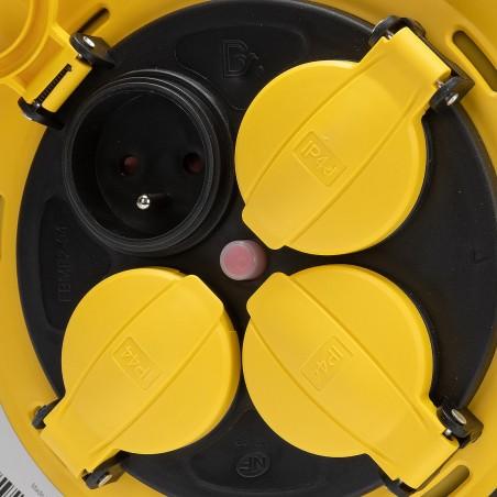 Enrouleur de chantier, 4 prises, 3G2.5, 25 mètres , NF, IP44. Platine fixe et guide cable REELPRO-FR-25 Enrouleurs France Bel...