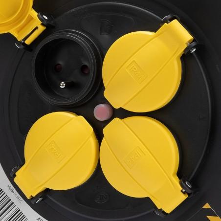 Enrouleur chantier, 4 prises, H07RN-F3G1.5MM2, 25M , NF,CE - IP44 REELHD-FR-25 Enrouleurs de chantier Velamp