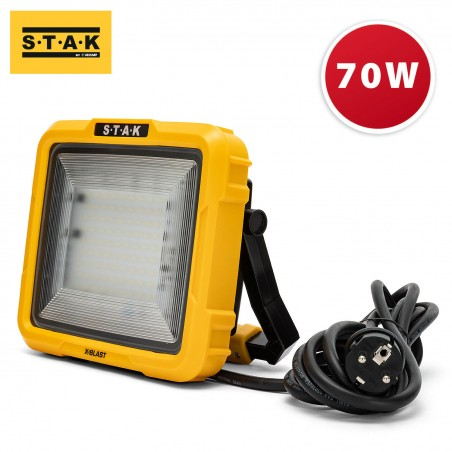X-Blast 70W: LED Zonenlicht mit 3 m Kabel und Servicebuchse - 6000 lm STA70D Strahler mit Stützen Velamp