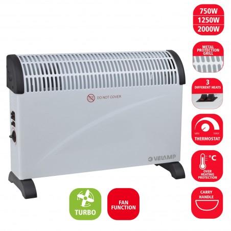 2 KW Konvektor mit TURBO Funktion. Weiß PR206T Kleine Heizlu_fter für den Hausgebrauche Velamp