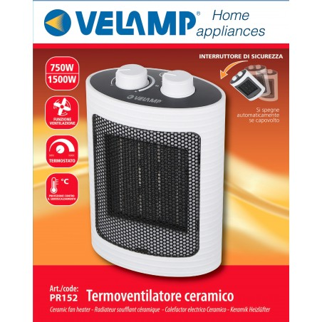 Générateur d'air chaud PTC 1500W. blanc PR152 Petit chauffage domestique Velamp