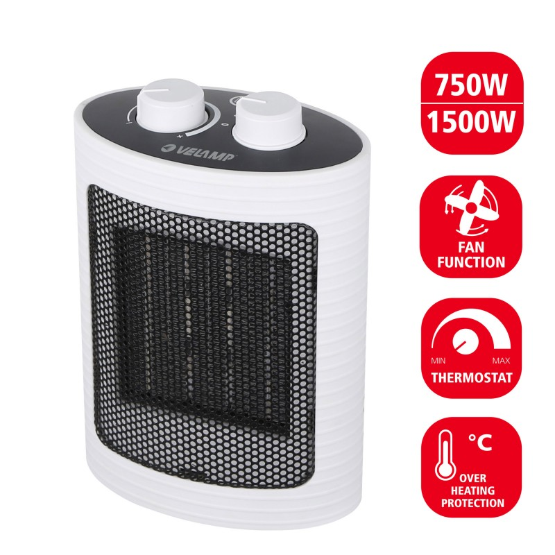 1500W PTC hot air generator. White PR152 Velamp Domestic fan heaters