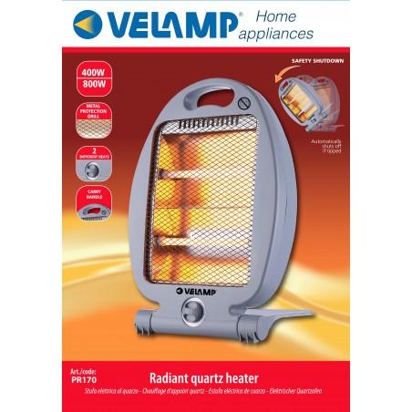 Chauffage électrique Quartz 800W. Gris PR170 Petit chauffage domestique Velamp