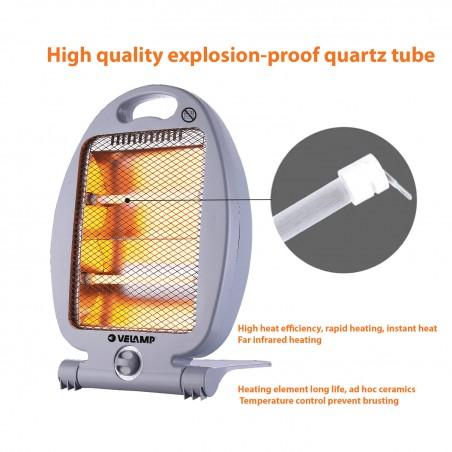 800W Quartz Electric Heater. Grey PR170 Velamp Domestic fan heaters