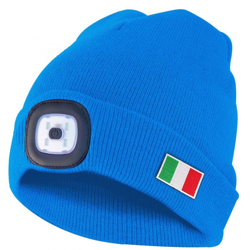 LIGHTHOUSE: Bonnet avec lampe frontale LED rechargeable. Azzurro Italia CAP19 Torches LED Velamp