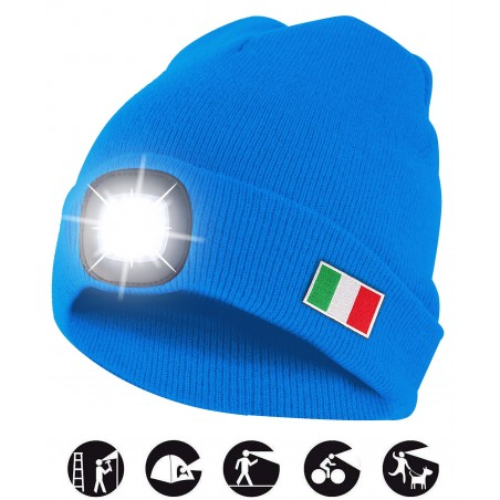 LIGHTHOUSE: cappellino con luce frontale LED ricaricabile. Azzurro Italia CAP19 Torce LED Velamp