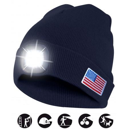 LEUCHTTURM: Kappe mit wiederaufladbarer LED-Frontleuchte. USA CAP18 LED Taschenlampen Velamp