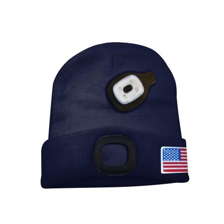LIGHTHOUSE: Bonnet avec lampe frontale LED rechargeable. Bleu Marine USA CAP18 Torches LED Velamp
