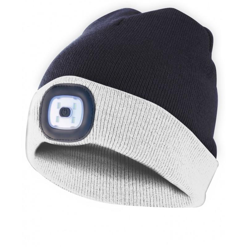 LIGHTHOUSE: Bonnet avec lampe frontale LED rechargeable. Bianconero CAP17 Torches LED Velamp