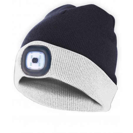 LIGHTHOUSE: cappellino con luce frontale LED ricaricabile. Bianconero CAP17 Torce LED Velamp