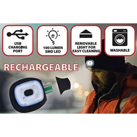 LIGHTHOUSE: cap with rechargeable LED front light. White black CAP17 Velamp LED flashlights