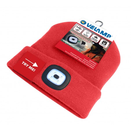 LIGHTHOUSE: Bonnet avec lampe frontale LED rechargeable. Rouge CAP08 Torches LED Velamp