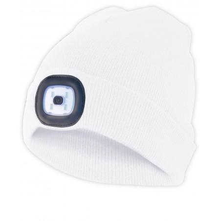 LIGHTHOUSE: Bonnet avec lampe frontale LED rechargeable. Blanc CAP09 Torches LED Velamp