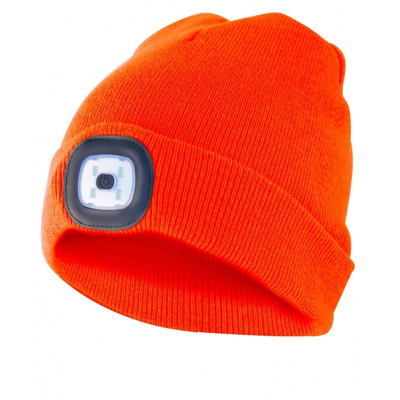 LIGHTHOUSE: cap with rechargeable LED front light. Orange CAP10 Velamp LED flashlights