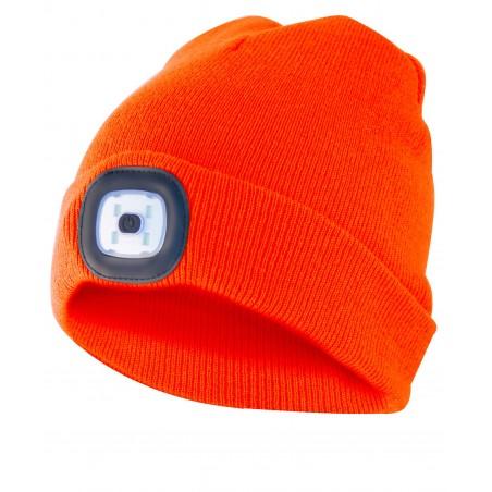 LIGHTHOUSE: Bonnet avec lampe frontale LED rechargeable. Orange CAP10 Torches LED Velamp