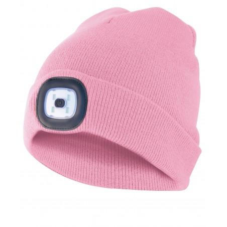 LIGHTHOUSE: Bonnet avec lampe frontale LED rechargeable. Rose CAP11 Torches LED Velamp