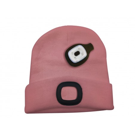 LIGHTHOUSE: cap with rechargeable LED front light. Pink CAP11 Velamp LED flashlights