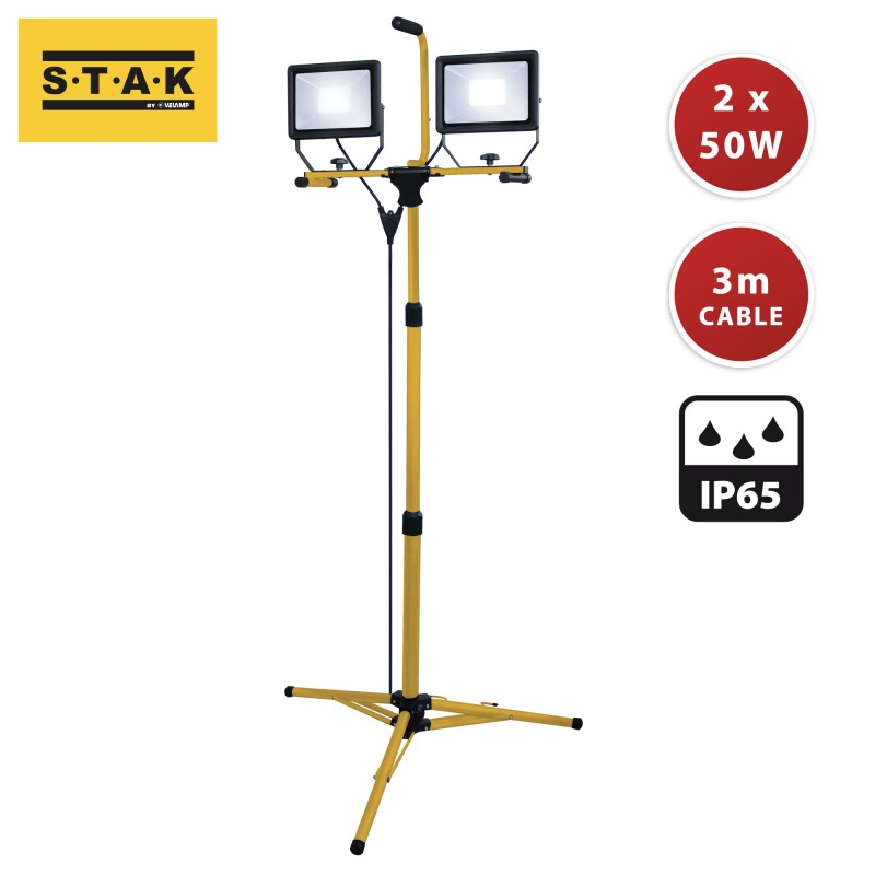 Proiettori LED 2x50W. Treppiede, cavo 3 mt H05RN-F 3G1.0mm2 ST748 Proiettori filari per il cantiere Velamp