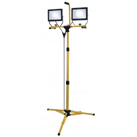 Proyector LED 2x50W con trípode e Cable 3 mt H05RN-F 3G1.0mm2 ST748 Velamp Proyectores con cable para sitios construcción