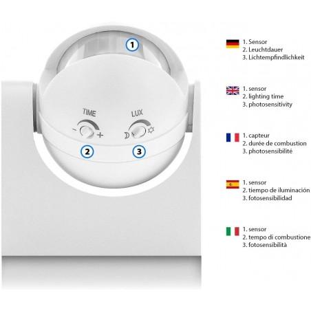 Adjustable IP44 IR motion sensor. black MS005 Velamp Motion and CDS sensors