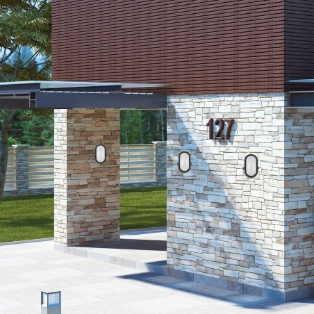 TARTARUGA: aplique LED integrado 5.5W color negro. Para exterior TARTARUGA-N Velamp Apliques ovalados