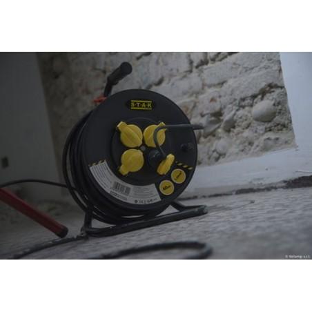 Enrouleur chantier, 4 premios, H07RN-F3G1.5MM2, 25M, NF, CE - IP44 REELHD-FR-25 Velamp Enrollacables para sitios de construcción