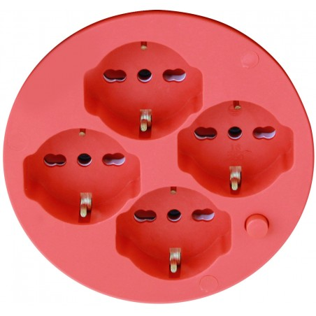 Italian standard electric reel, 4 plugs, cable H05VV-F3G1.5MM2, 50m, CE REEL-IT-50 Velamp Italy cable reels