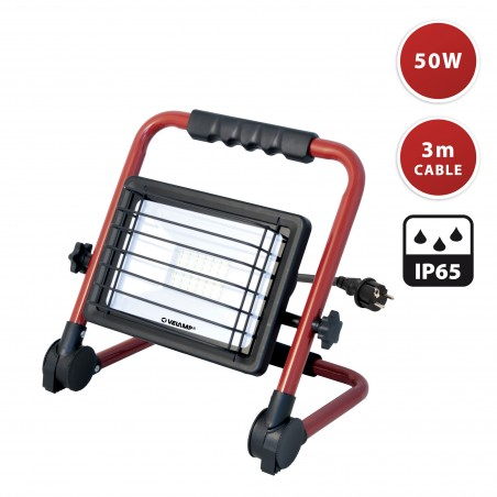 WAINGRO: 50W SMD LED floodlight with bracket, grill and 3m cable IS766 Velamp Worklights on H stands