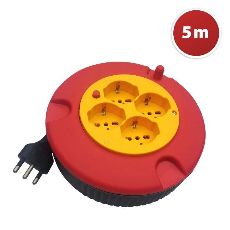Haushaltskabelrolle 4 Buchsen, Kabel H05VV-F3G1.0MM2, 5M, CE DOMREEL-5-IT Kabeltrommeln Velamp