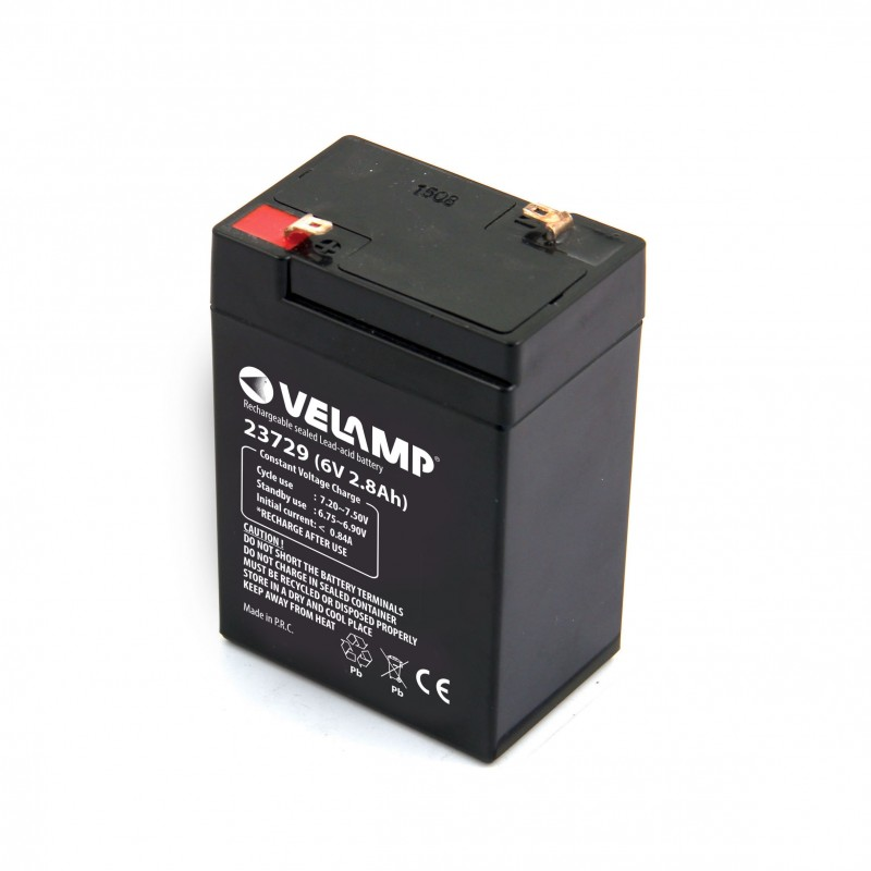 Lead rechargeable battery, Faston connections, 6V 2.8Ah 23729 Velamp 6V Sealed lead acid rechargeable batteries