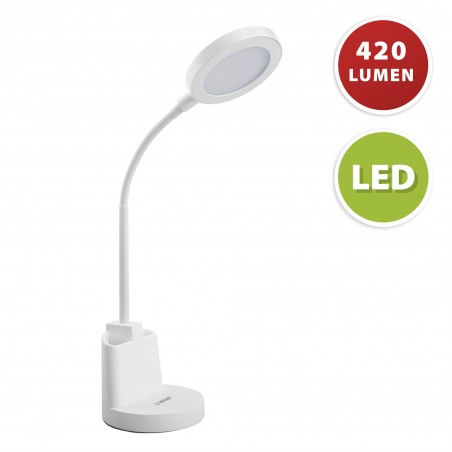 7W LED desk lamp with touch switch and pen holder. White TL1602-B Velamp Desk lamps