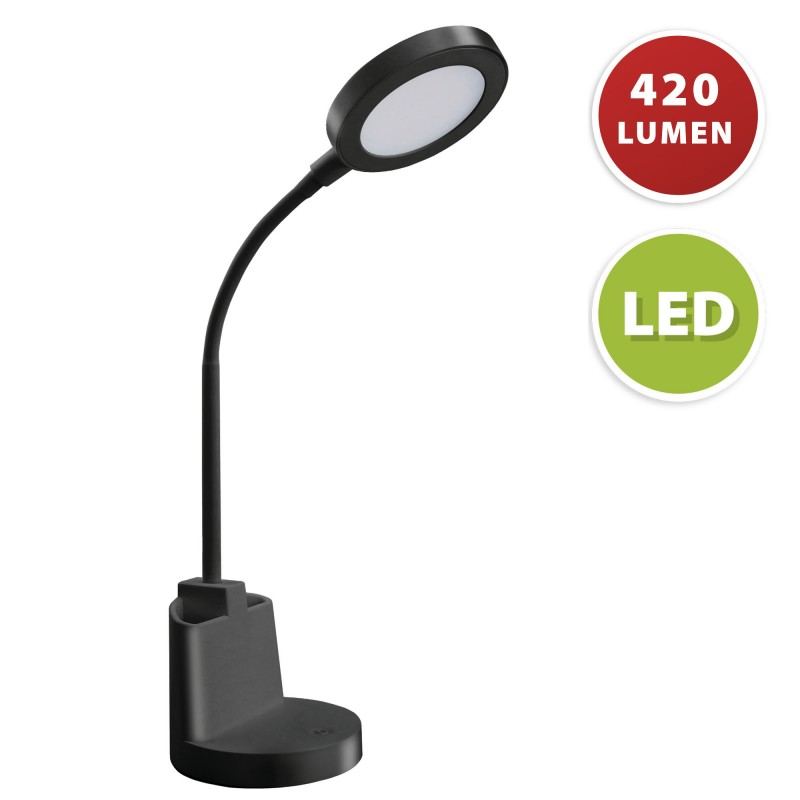 7W LED desk lamp with touch switch and pen holder. Black TL1602-N Velamp Desk lamps