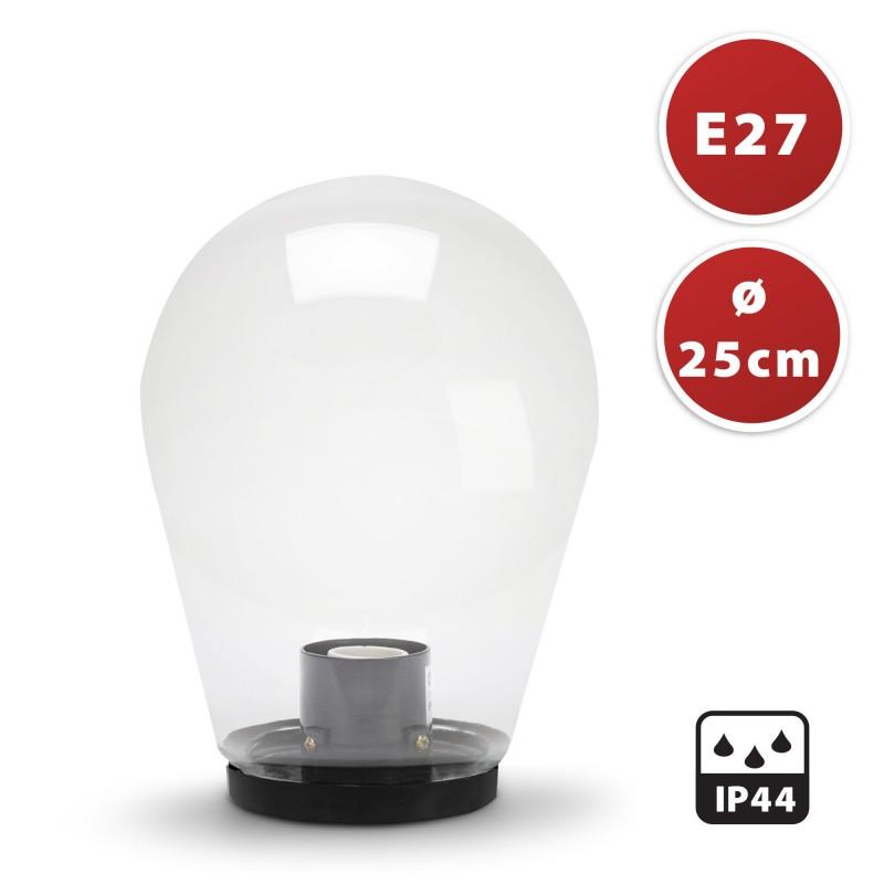 Lampione per esterno in PMMA, 250mm, Attacco E27, trasparente SPH253 Sfere trasparenti apolux Velamp