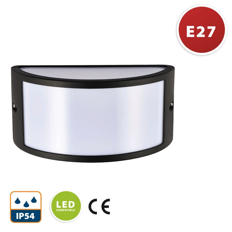E27 crescent wall lamp. Modern design. IP54. Anthracite IS701 Velamp Bulkheads