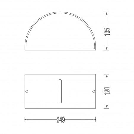 E27 crescent wall lamp. Modern design. IP54. Anthracite IS703 Velamp Bulkheads