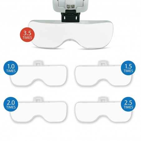 LED glasses with magnifying glass. 5 interchangeable diopters LE035 Velamp Magnifier lamps