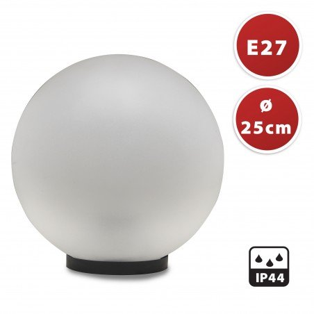 PMMA outdoor sphere, 250mm, E27 socket, frosted white SPH254 Velamp APOLUX white globes