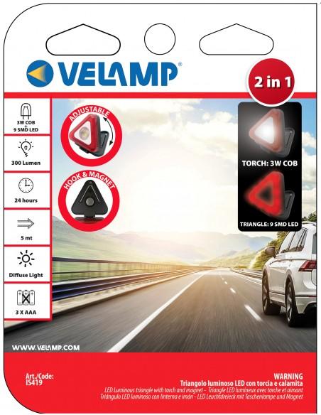 Triangle lumineux LED avec lampe torche et aimant. 3AAA non fournies IS419 Lampes de travail rechargeables et à piles Velamp