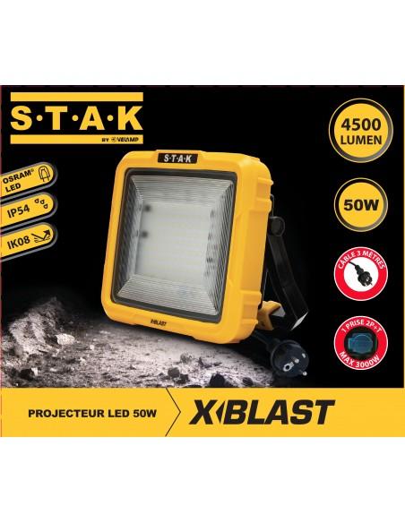 X-Blast 50W: proiettore LED con cavo 3m e presa francese. 4700lm STA50D-F Proiettori filari per il cantiere Stak