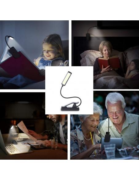 Lampada da lettura COB LED 2W ricaricabile, orientabile con clip IR236 Luci da lettura Velamp