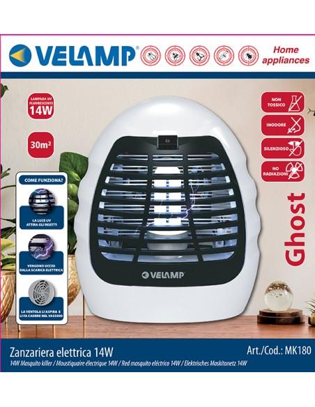 Mosquitera eléctrica, con lámpara UV y ventilador, 14W MK180 Velamp Red mosquito eléctrico