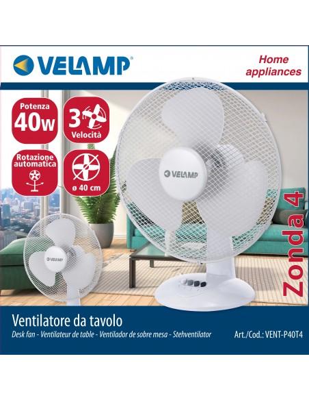 Ventilador de mesa 40 cm, en plástico. 3 velocidades. Blanco VENT-P40T4 Velamp Ventiladores de mesa