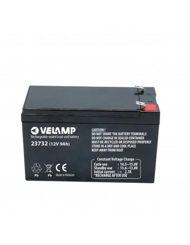 Batteria Ricaricabile Piombo, Attacchi Faston, 12V 9Ah 23732 Batterie ricaricabili al piombo 12v Velamp