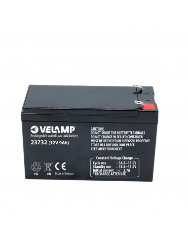 Lead rechargeable battery, Faston connections, 12V 9Ah 23732 Velamp 12V Sealed lead acid rechargeable batteries