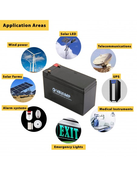 Lead rechargeable battery, Faston connections, 12V 26Ah 23734 Velamp 12V Sealed lead acid rechargeable batteries