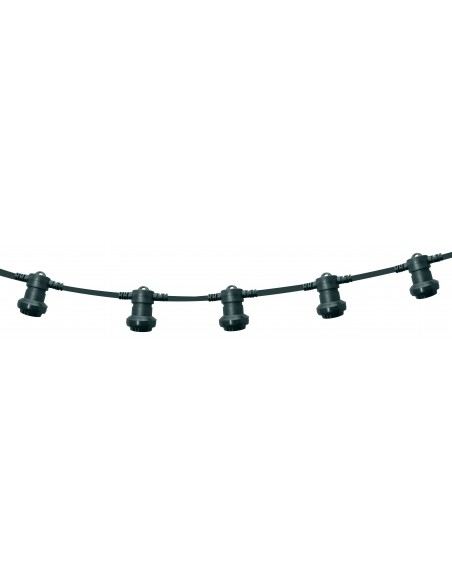 PARTY LIGHT: Catenaria IP44 prolungabile 10m, 10 attacchi E27, H05RN-F2x1mm2, verde scuro PS100G Catenarie luminose Velamp