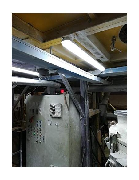 Deckenleuchte IP65 mit 2 x 120cm LED Röhren. 2x18W, 4000K TNE236 Wannenleuchten Velamp