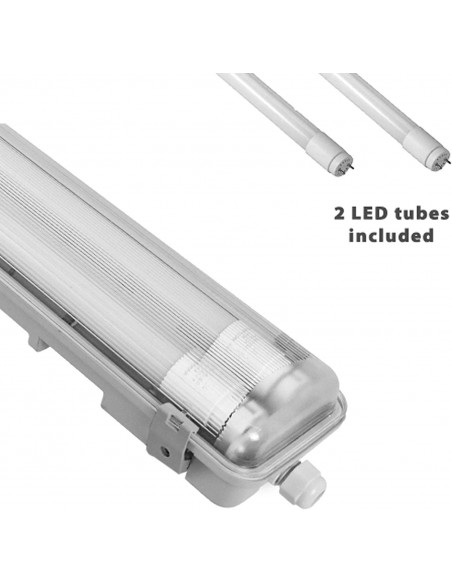 IP65 waterproof batten, 120cm. 2 LED tubes included: 2x18W, 4000K TNE236 Velamp Waterproof fittings