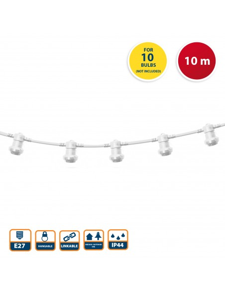 PARTY LIGHT: IP44 extendable light chain 10m, 10xE27 lamp holders, white PS100W Velamp Extendable light chain